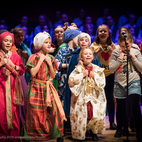 Portraits of Christmas told by pupils from Kilgraston at the Perth Concert Hall in December 2018. Telling the traditional story with a few surprises a