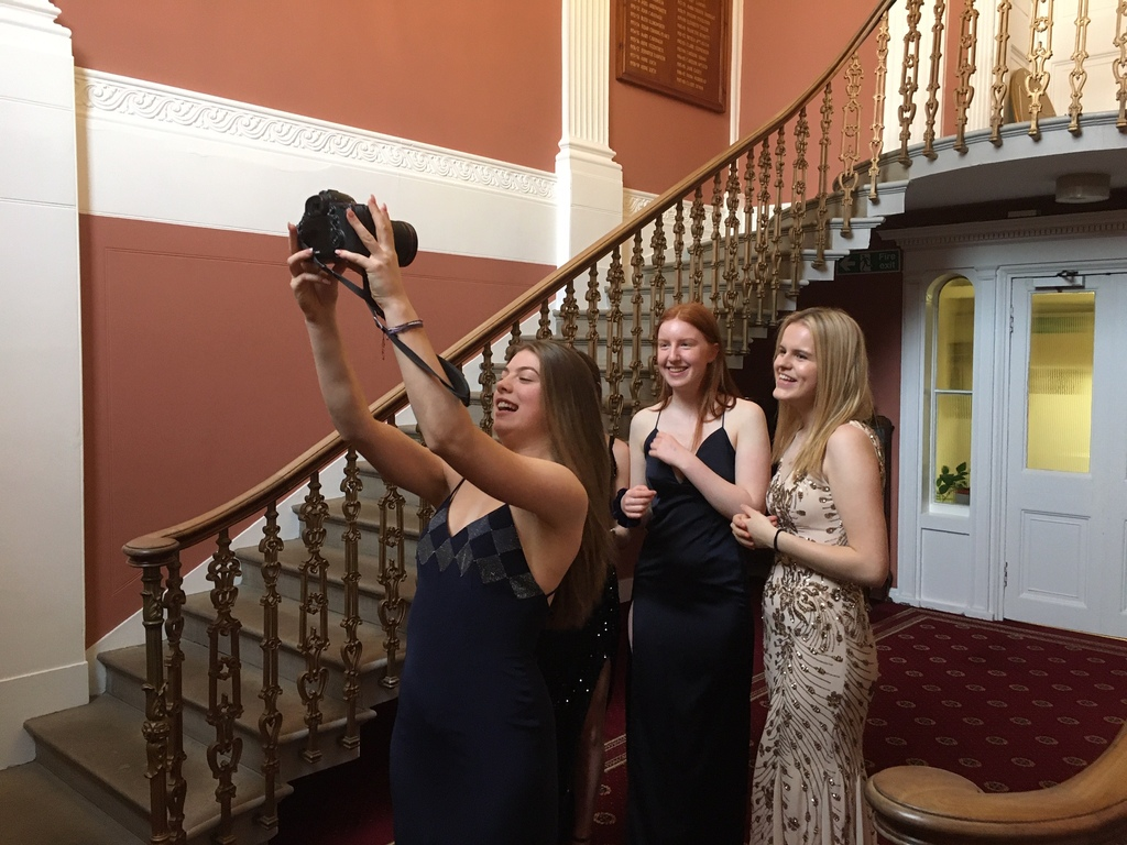 Sixth Form Kilgrasaton pupils trying on 'preloved' dresses for the Ball (5) 11.3