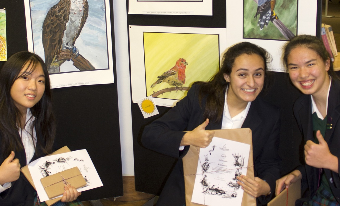 Kilgraston pupils with their winning entries at the GWCT annual art competition held at the AK Bell Library in Perth.