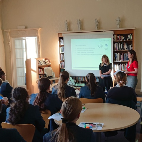Sixth Form pupils hearing about a career in accountancy from specialists from Saffery Champness