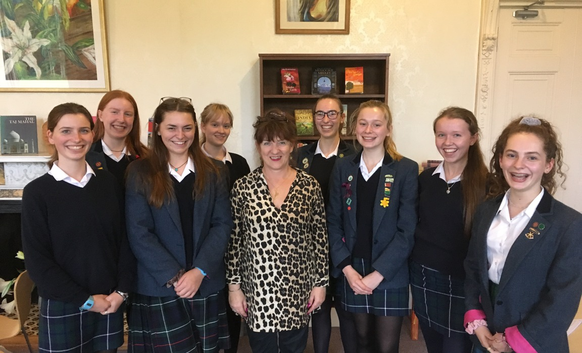 Daily Telegraph columnist Judith Woods speaking with some of Kilgraston School's Sixth Form as part of its 'Women in Business' programme