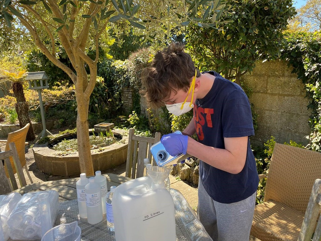 KEW Christopher Hooper making hand sanitiser
