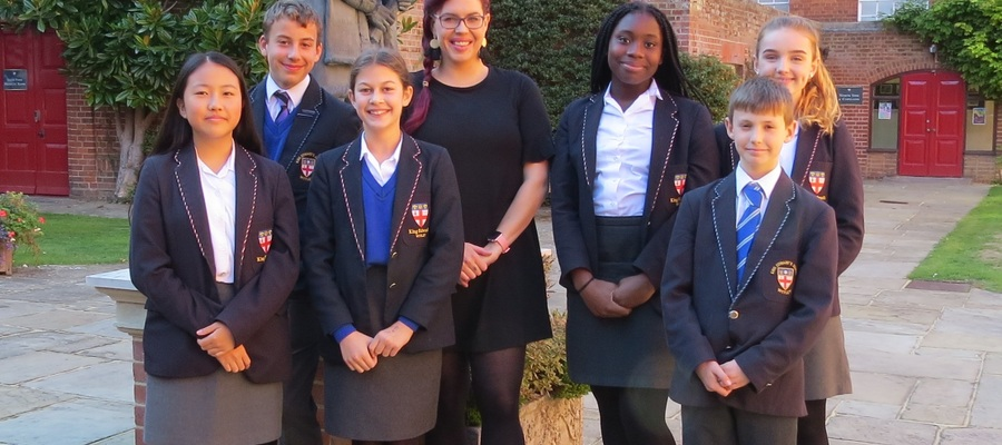 Natasha Devon MBE with First and Second Form pupils.