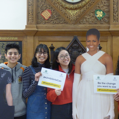 KEHS Lower Sixth-formers meet 'Emma Watson' and 'Michelle Obama' - or rather, cut-outs of them, for the school's Girl Boss Careers Week