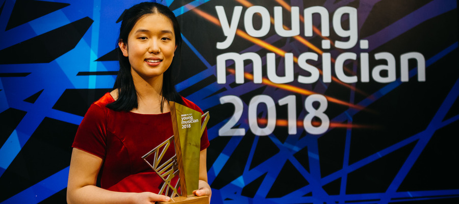 Lauren Zhang of KEHS receiving her trophy as BBC Young Musician of the Year