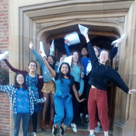 KEHS girls celebrating their record haul of A* grades at A level