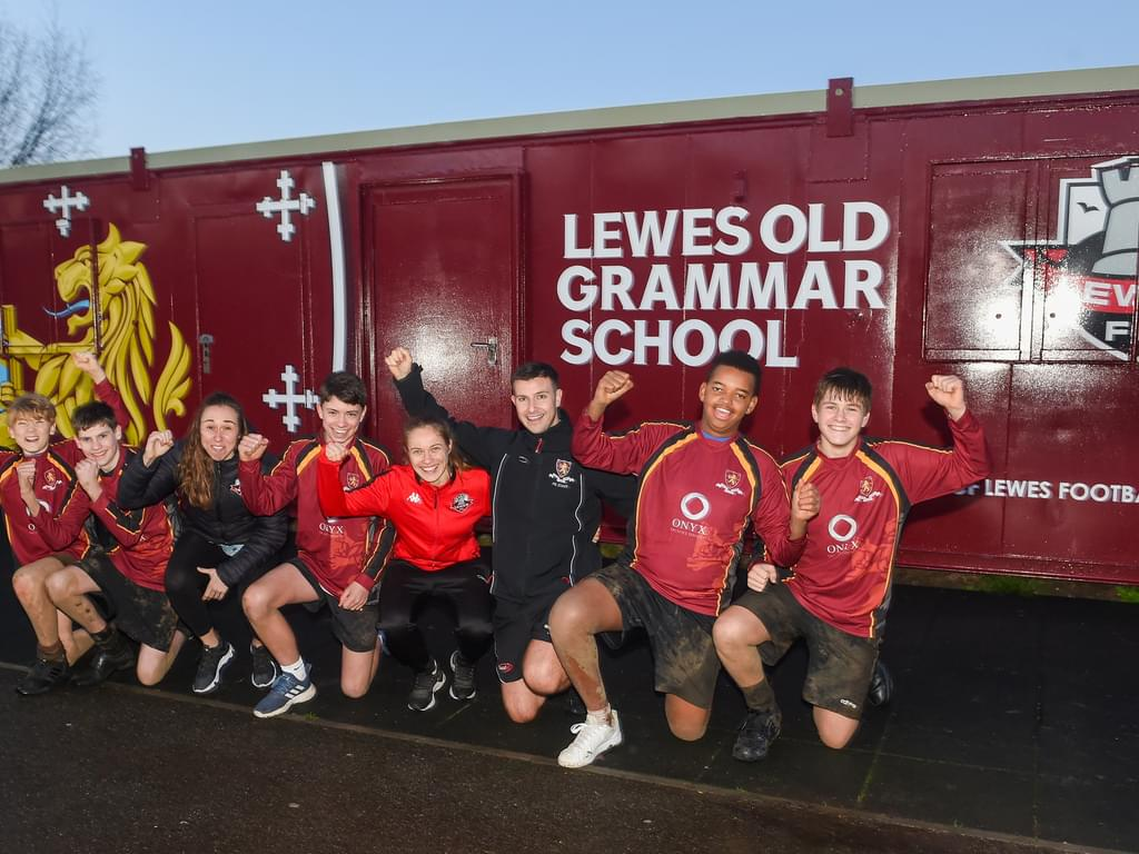 Pupils in Lewes FC players celebrate
