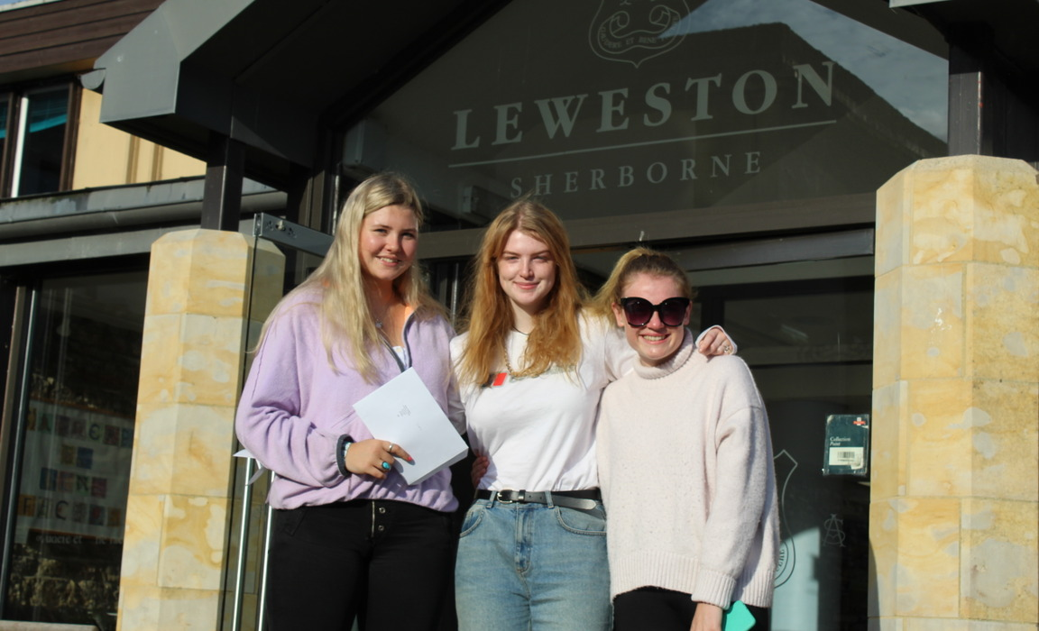Grace T and Charlotte S from Dorchester and Amelia M from Sherborne who between them gained one A*, two As, four Bs and a Distinction and Merit in Cam