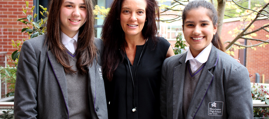 GCSE Sports students from MHSG, Sophie Tilley and Elise Kotegaonkar, meet Emma O'Reilly