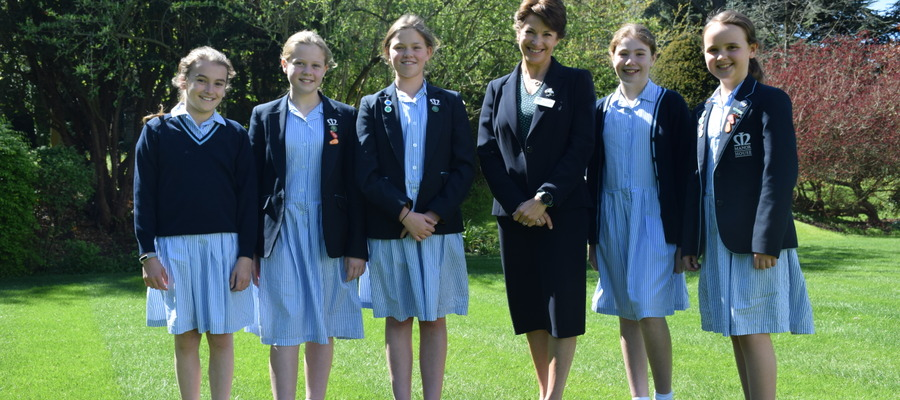 Headteacher, Tracey Fantham, with Senior Scholars at Manor House School, Bookham.