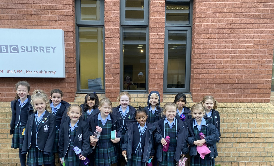 A group of Year 1 and 2 pupils of Manor House School outside BBC Radio Surrey to record their Nativity