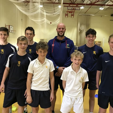 Young players with Glamorgan's David Harrison.