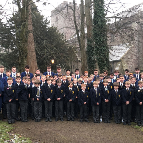 Monmouth School Boys' Prep Grange Choir and Monmouth School for Boys' Chapel Choir at Brecon Cathedral.