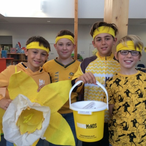 Head boy Seb Bowen (holding the bucket) with fellow Year 6 pupils Alex Rimko, Max Parke-Robinson and Harrison Cannon support World Mental Health Day.