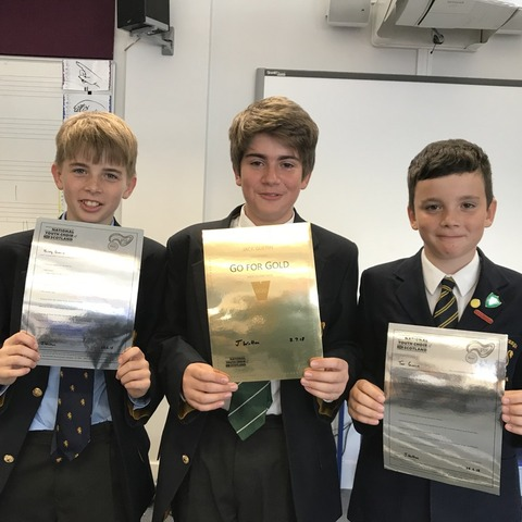 The Guerin brothers – Harry, Jack and Tom - with their Kodály musicianship certificates.