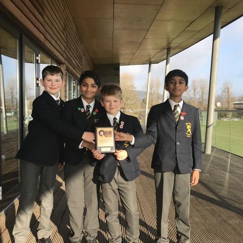 The science team from Monmouth School Boys' Prep (from left): Hugh Major, Ojas Shanbhag, Cameron Hughes and captain Srinivas Rengarajan.