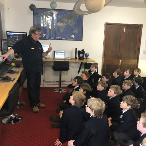 Astronomer Jay Tate speaks to pupils at Monmouth School Boys' Prep.