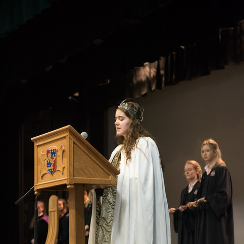 Eleanor Woodhead reads out her winning poem at Monmouth School for Girls' Eisteddfod celebrations.