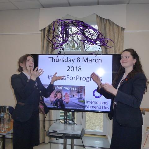 Monmouth School for Girls' students Georgina Feltham-White (left) and Rhianna Mone sold ribbons to mark International Women's Day.