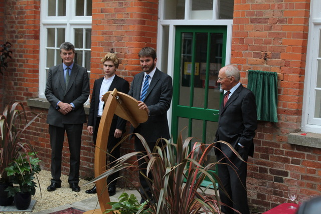 Headmaster Charlie Minogue with Mr Bury of the Millichope Foundation, Henry Kennedy and Julian Rogers Coltman