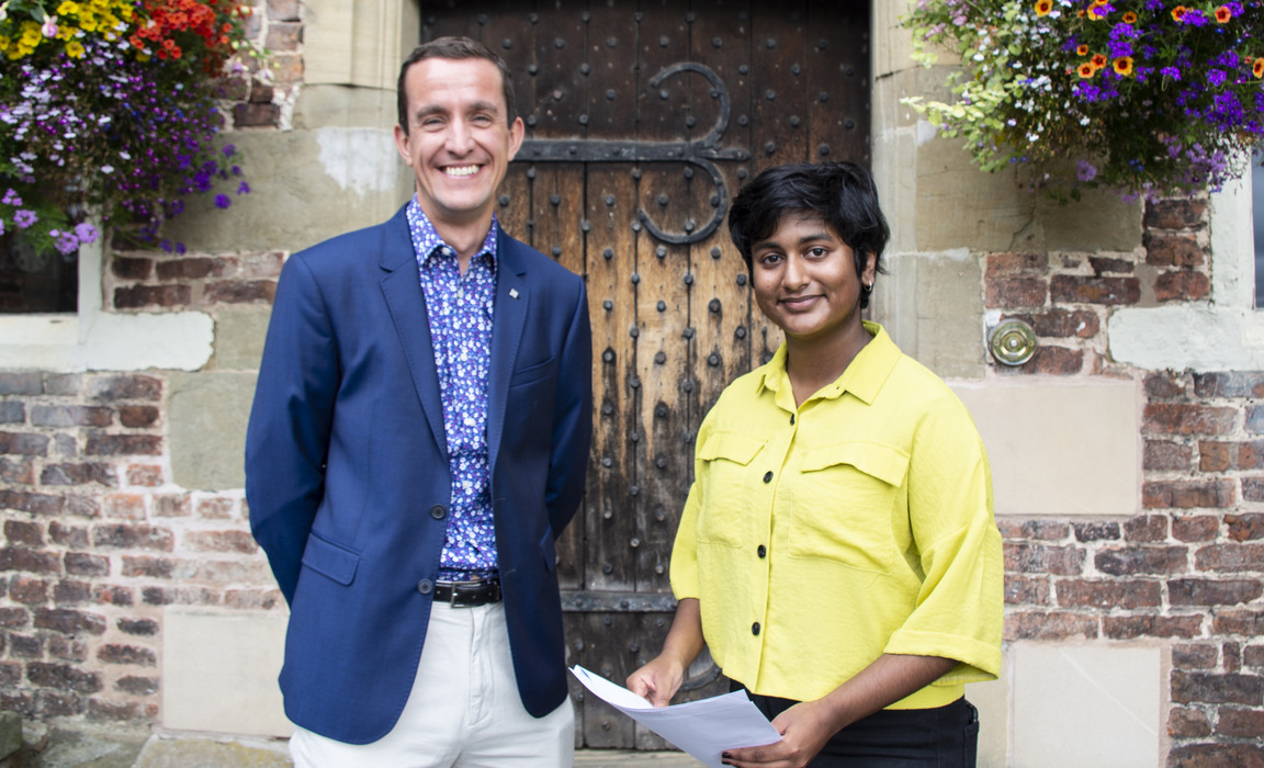 Incoming Principal George Budd with GCSE student Simran Sajan