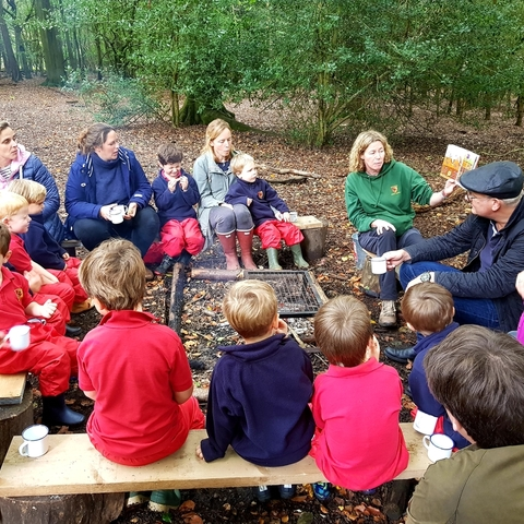 Parents and Boys at Forest School