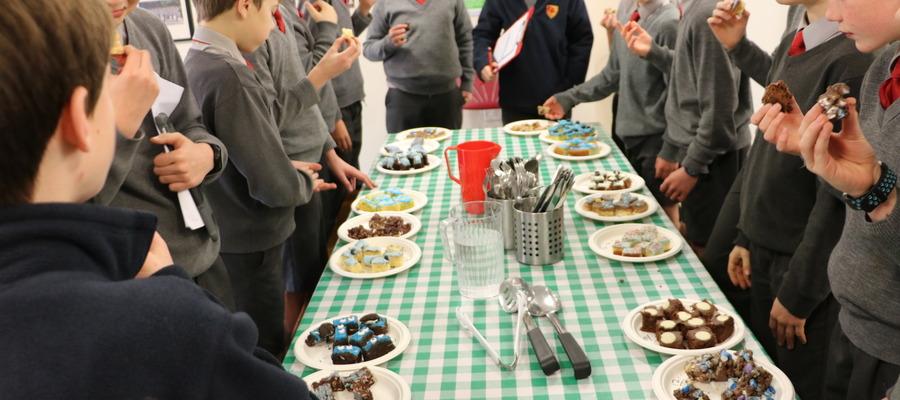 Year 7 judging the tray bake round