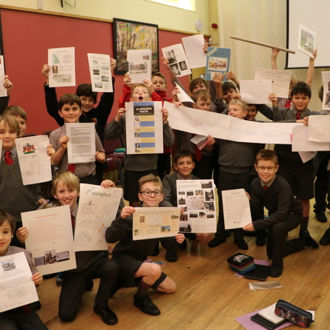 Boys Displaying Some of Their Work