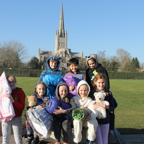 Norwich Lower School pupils prepare for their sleepover at school