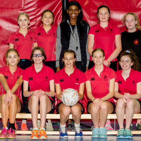 England netball player and Commonwealth Games gold medallist Jodie Gibson with pupils 2
