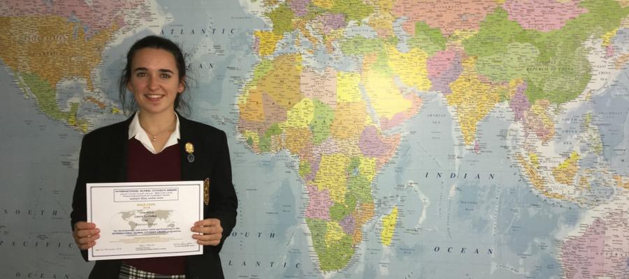 Oakham School student, Laura Crowley, winner of the Gold International Global Citizen's award