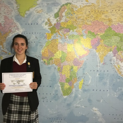 Oakham School student, Laura Crowley, winner of the Gold International Global Citizen's award