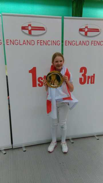 Lottie Jordan celebrates English U11 Girls Epee Win!