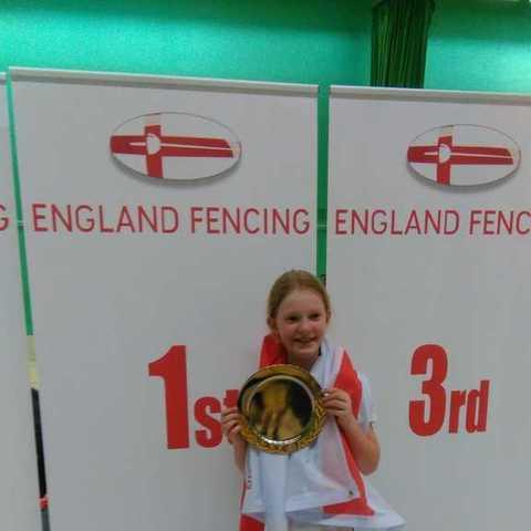 Lottie Jordan celebrates English U11 Girls Epee Win!