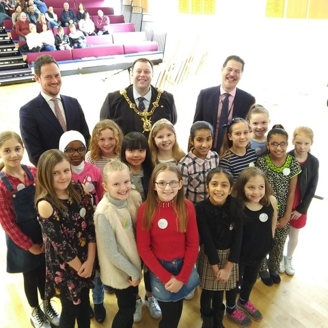 Stephen Morgan, MP, Lord Mayor of Portsmouth Councillor Lee Mason and Councillor Rob Wood with the girls from Portsmouth primary schools