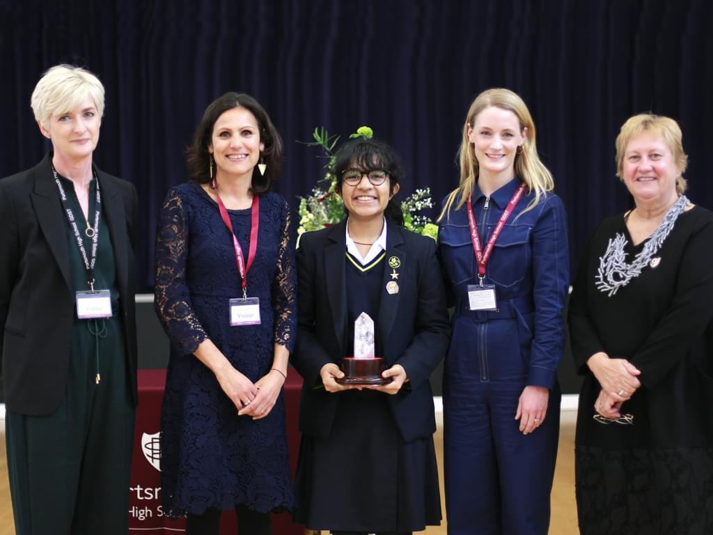 BBC's Anjana Gadgil judges public speaking competition at Portsmouth High