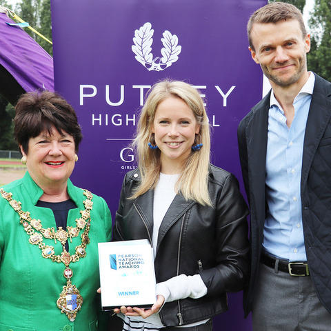 Miss Pippa Wadey receives her Silver Award from Mayor of Wandsworth, Councillor Jane Cooper and James Healey of Pearson