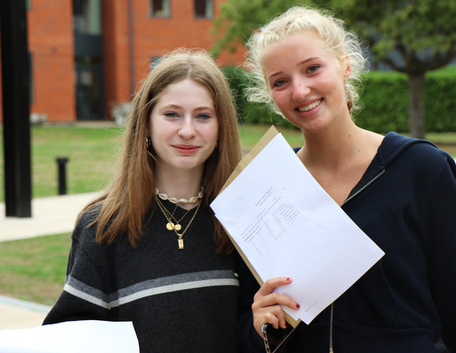 Lyra and Emily, Queen Anne's School GCSE results