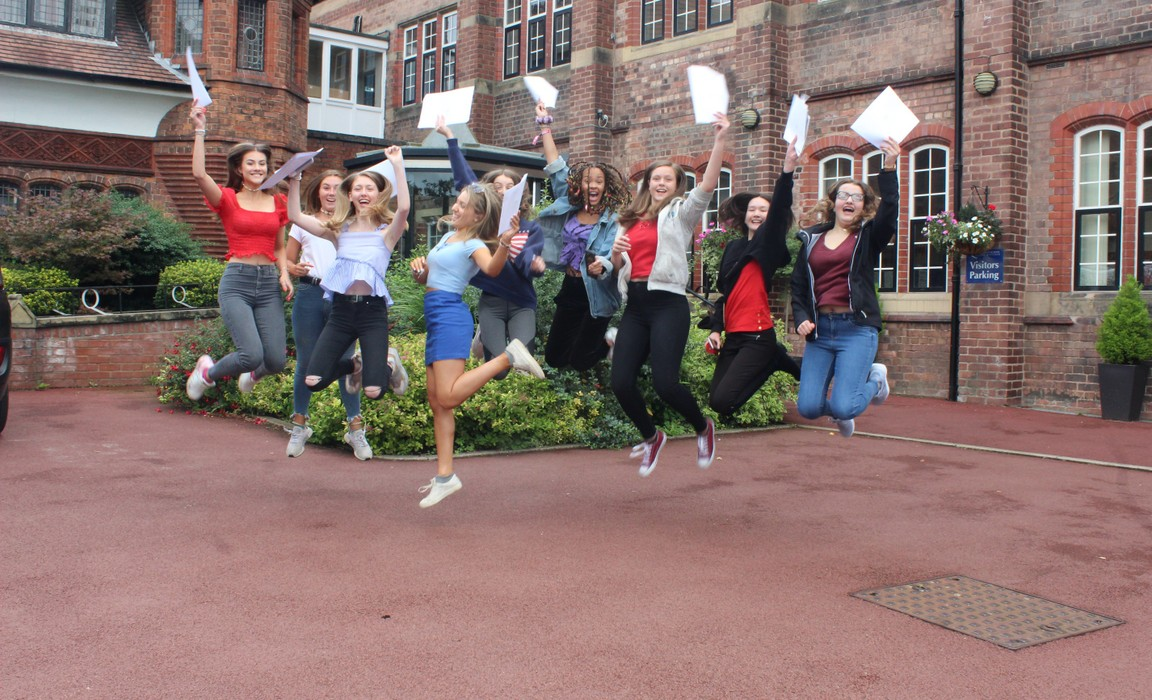Pic 1 - Girls celebrate outstanding results