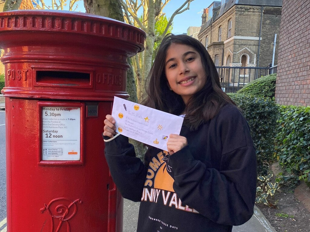 Kaira (III Form) - Posting Her Letter To Age UK member 2 - CROPPED