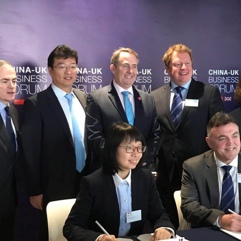 RGS and KEF signing a MOU at the UK Business Forum in Shanghai with delegates from Reigate Grammar School, Kaiyaun Education Fund, China Development B