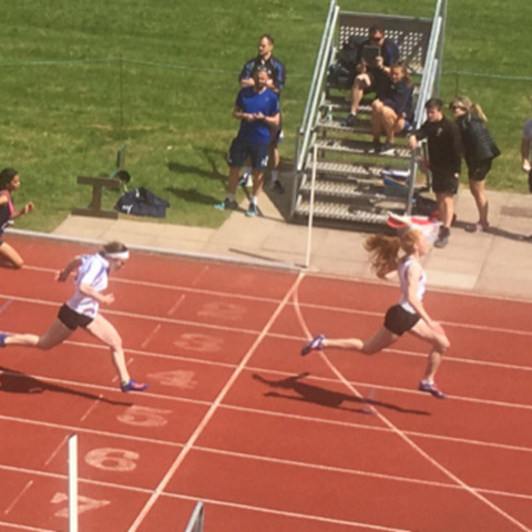 Vicky and Ellie 100m final Districts