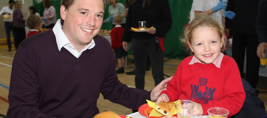 The children were delighted to have breakfast with their Fathers