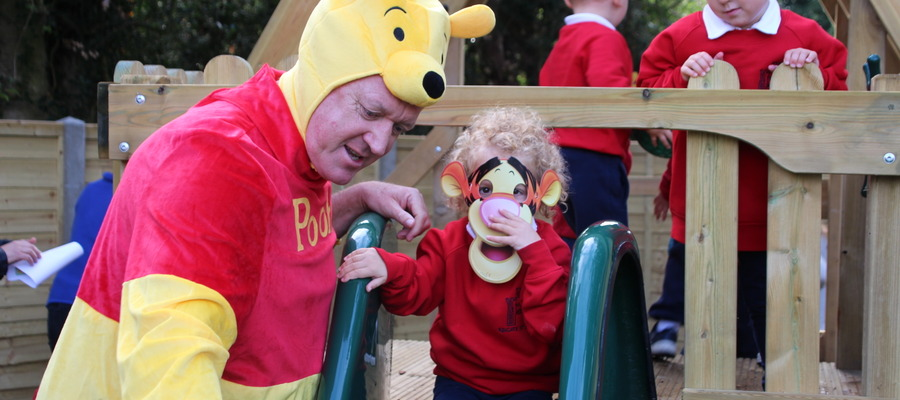 Winnie the Pooh Opens RSM's new Early Years Garden