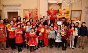 Roedean girls and other pupils with Boris Johnson at no10 celebrating Chinese New Year