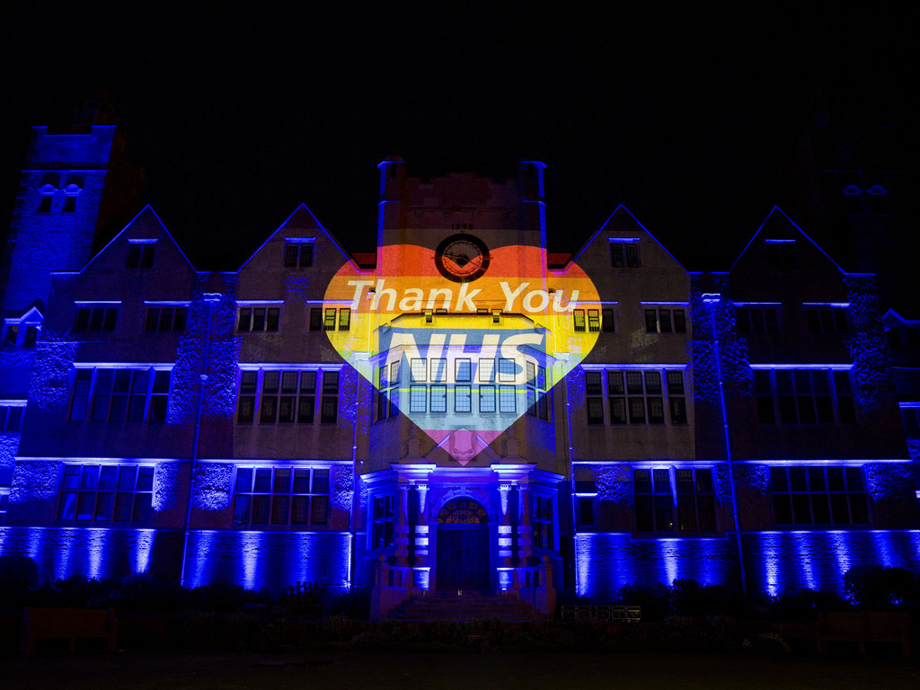 Roedean turns blue for NHS as quarantined staff member gets busy making masks