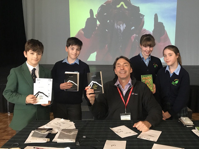 Matt Dickinson and students from Sibford School during his book signing