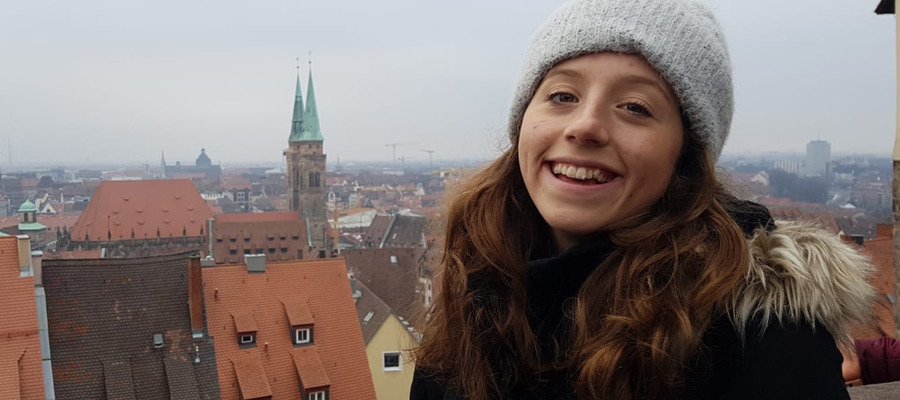 Above the rooftops in Nuremberg Germany
