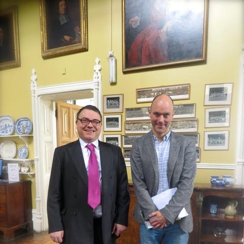 Author Alex Preston with Sompting Abbotts Headmaster Stuart Douch