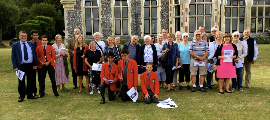 Local history group Lancing & Sompting Pastfinders with staff and pupils from Sompting Abbotts